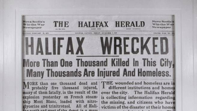 Headline on the The Halifax Herald's front page the day after the Halifax Explosion.