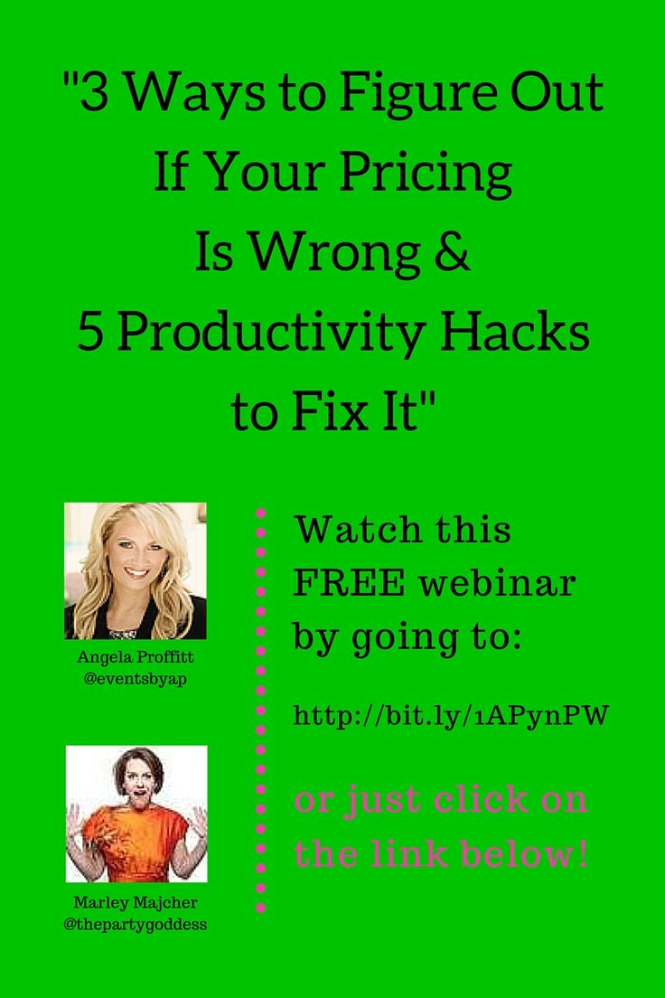 "Sign up here (http://unbouncepages.com/angela-proffitt-webinar-2/) for my free productivity and pricing webinar: ""3 Ways to Figure Out If Your Pricing Is Wrong & 5 Productivity Hacks to Fix It.""  I hosted this exciting event, jam packed with content with Angela Proffitt, the CEO of Vivid Experiences."