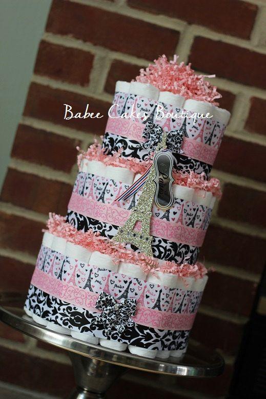 3 Tier Pink Paris Damask Diaper Cake, Girl Baby Shower, Paris Damask Baby…