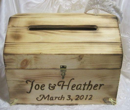 Large Rustic Wedding Card Box Keepsake Chest Woodburned Natural – Wooden Card Box Wedding