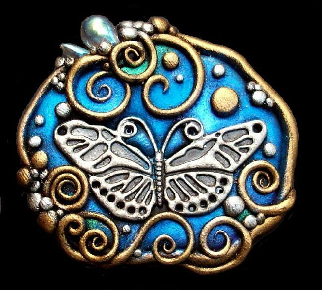 polymer clay butterfly: Artists, Clay Ideas, Clay Scultur, Butterflies, Clay Pendants, Polymer Clay Art, Gardens Mosaics, Crafts, Art Loverpolym