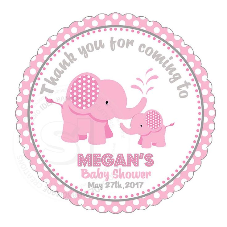 "Custom cute pink Elephant Baby Shower Thank you Printable 2.5"" Tags-Personalized Baby Elephant thank you 2.5 inches Tags- baby Shower Stickers DIY Birthday Favor Tags"