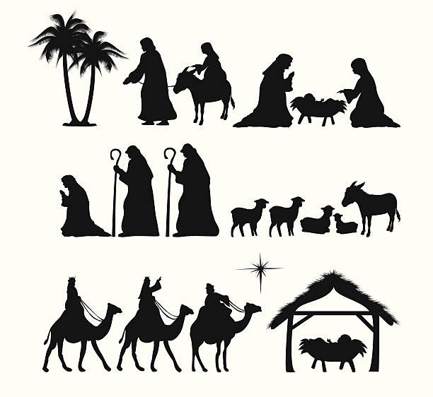 Nativity silueta - ilustración de arte vectorial