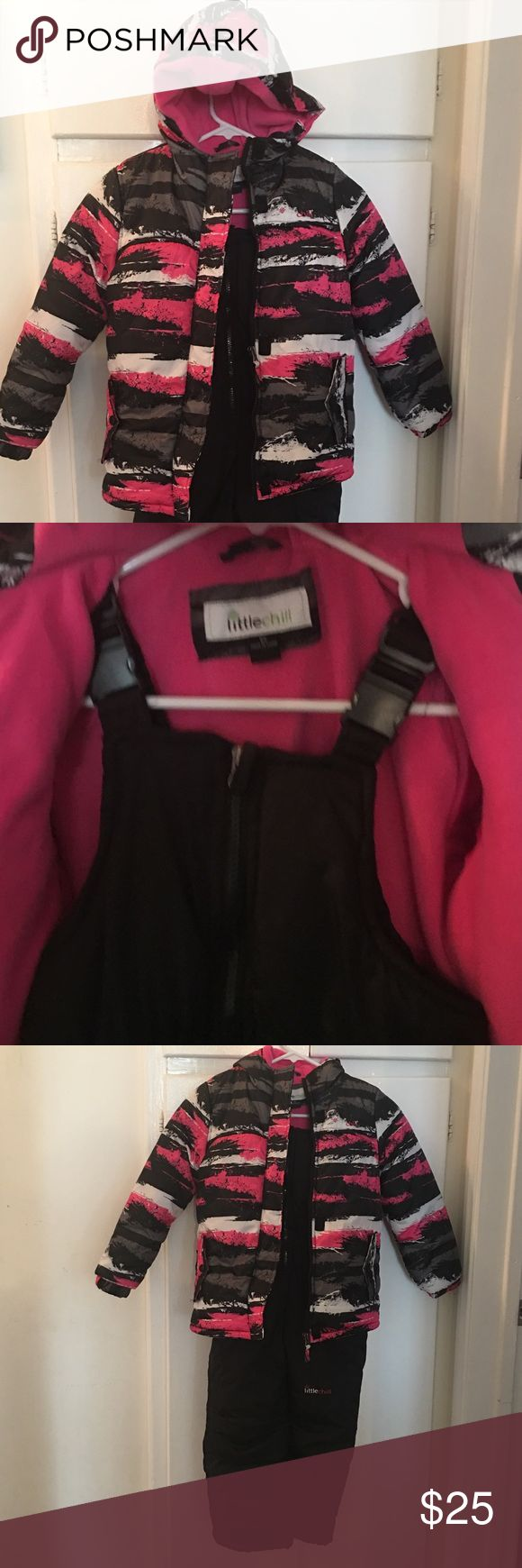 Little Chill Girls Snowsuit size 6x Girls snowsuit in like new condition. Only worn 2 times. Jacket colors are pink, gray, white Ana black, inside is pink. Zip up front and Velcro overlap, front pockets with snap closure. Pants are black and have two front pockets. warm and comfy! Little Chill Jackets & Coats