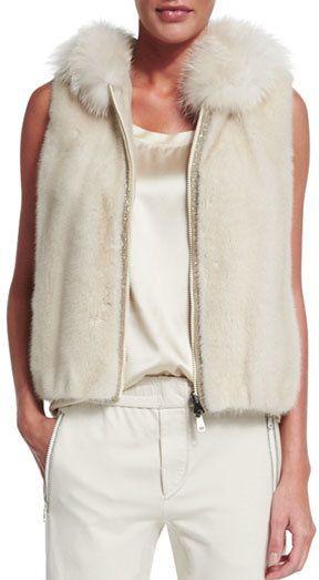 Brunello Cucinelli Hooded Mink Fur Vest, Vanilla