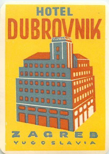 Hotel Dubrovnik Zagreb Jugoslavia Great OLD Deco Luggage Label   eBay