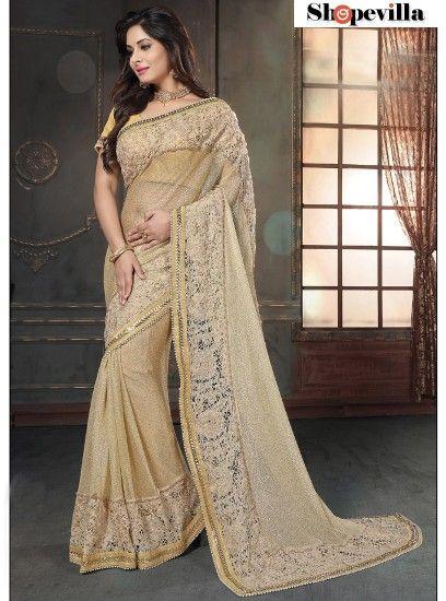 Lovely Beige Fancy Net Designer Saree-4213
