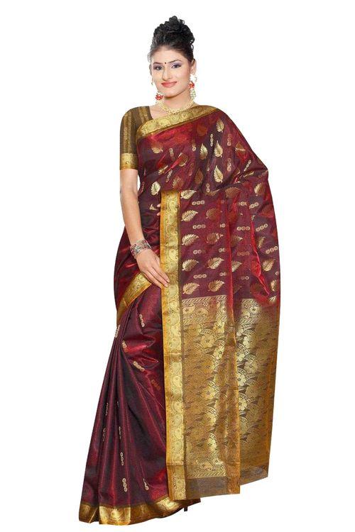 Maroon Gold Leaf South Indian fancy Art Silk Sari Saree bellydance wrap