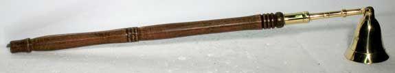 Wooden Handled Brass Snuffer