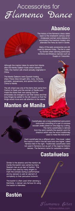 Accessories for flamenco infographic - abanico - manton de manila - castañuelas - baston   www.flamencobites.com