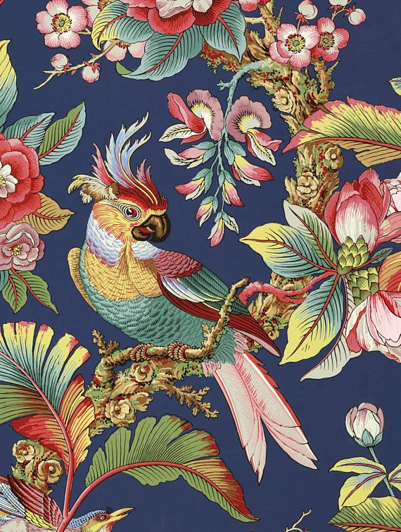 bird feather oriental Japanese Chinese asian quilting Peacock fabric panel