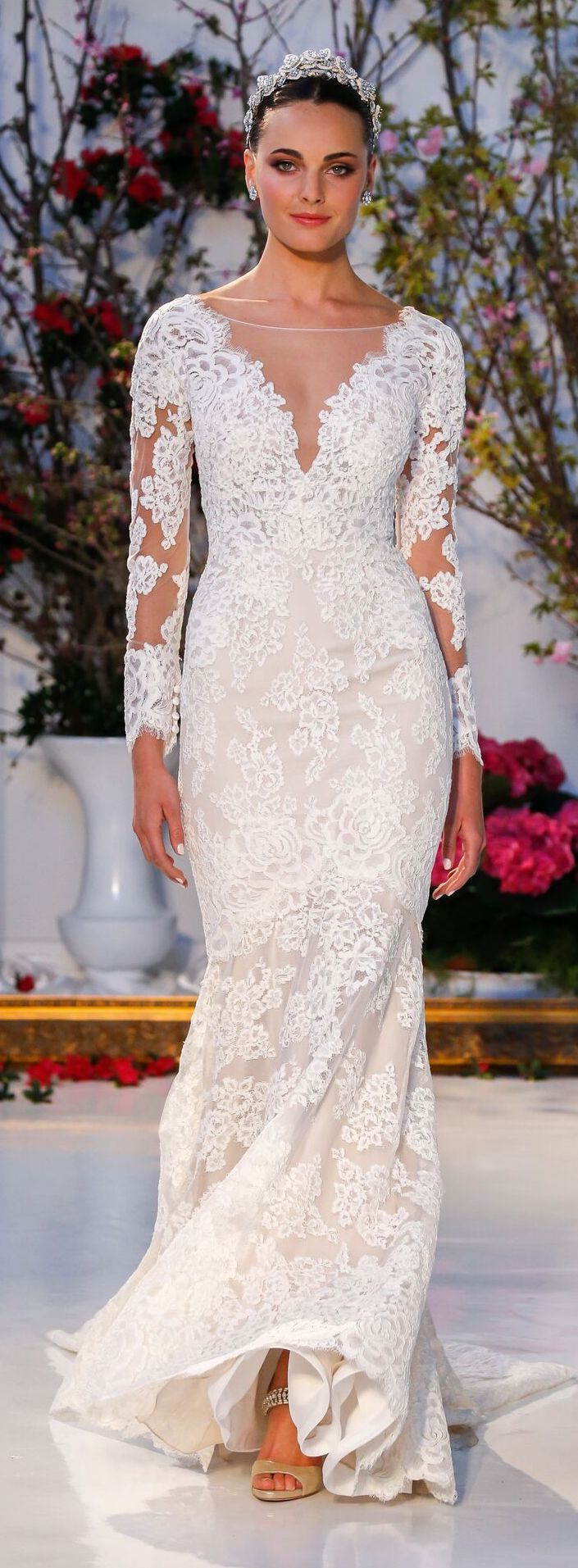 Wedding Dress by Anne Barge Spring 2017   Long sleeve lace illusion neckline fitted bridal gown