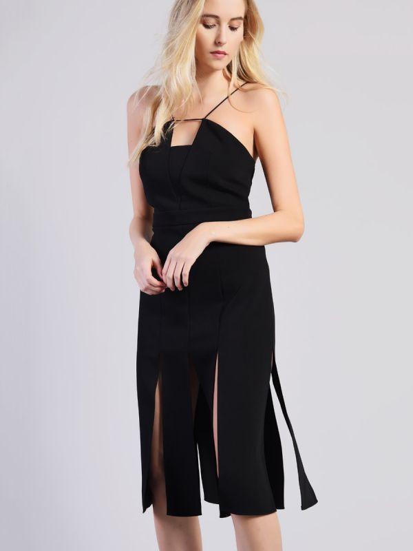 c887ad80a78 Glamorous Studio Black Split Midi Dress • £50
