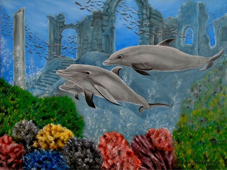 dolphins,painting,underwater,world,scene,wildlife,fish,seascape,arches,ruins,temples,sunk,ancient,town,saltwater,ocean,sea,deep,bottom, corals,reefs,bubbles,vivid,colorful,aqua,blue,turquoise,water,mystery,submerged,marine,animal,beautiful,awesome,cool,superb,amazing,fabulous,magnificent,contemporary,realistic,figurative,in,of,under,the,fine,oil,wall,art,images,home,office,decor,artwork,modern,items,ideas,for sale,redbubble
