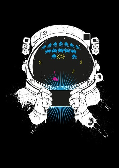 astronaut gaming: out of this world. teehee.