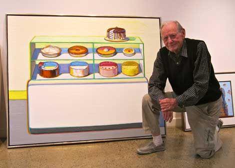 Wayne Thiebaud in zijn atelier - photo by Vonn Sumner, 2014