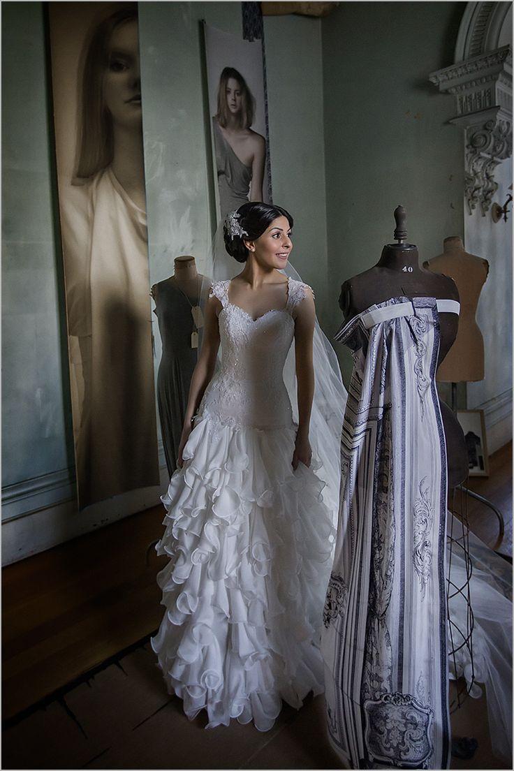 Beautiful Chantel in a custom Peter De Petra couture gown. Ruffled silk chiffon skirt. Yervant Photography.