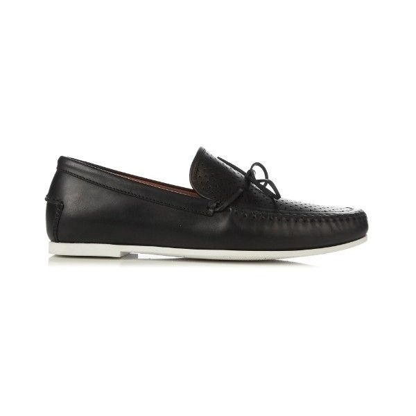 Tomas Maier Perforated-leather deck shoes (4,010 MXN) ❤ liked on Polyvore featuring men's fashion, men's shoes, men's dress shoes, black, shoes, mens deck shoes, mens summer shoes, mens leather shoes, mens perforated shoes and mens boat shoes