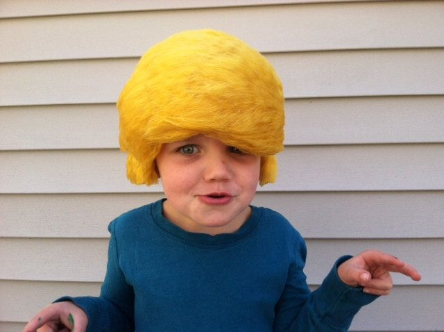 Halloween Costume, Donald Trump wig, Wigs, costume kids, kids halloween, Donald trump, Kids wigs, Wig, Costume hair, costume wig, Trump hat by ThePurplePumpkinShop on Etsy https://www.etsy.com/listing/278832492/halloween-costume-donald-trump-wig-wigs