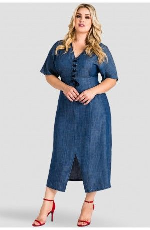 efee5c8068d3b0 Plus Size Meme Lace-Up Tencel Denim Midi Dress in 2019 | Denim ...