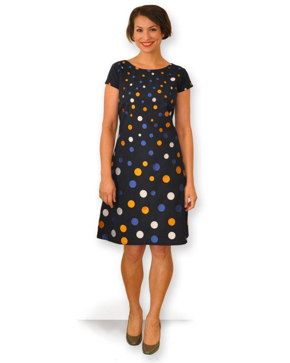 Navy tailored dress with embroidered polka dots by theprofdaughter, $179.00