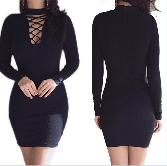 Vestidos 2017 Autumn Women Dresses Zipper O-neck Sexy Knitted Dress Long Sleeve Bodycon Sheath Pack Hip Dress Vestidos