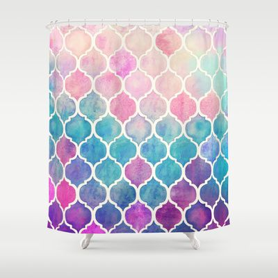 Upstairs main - Rainbow Pastel Watercolor Moroccan Pattern Shower Curtain by Micklyn   Society6