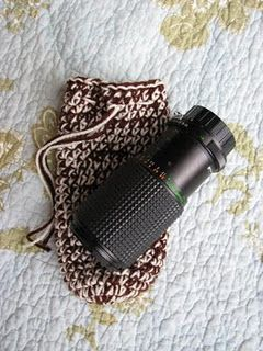 Crochet - Camera Lens Cozy - cute little bag for other things too!