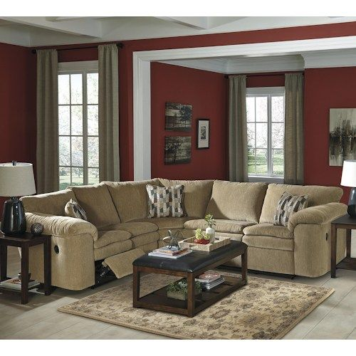 signature design by ashley coats casual 3piece reclining sectional with pillow arms reclining