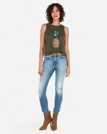 d33aca4519 Express One Eleven Sequin Pineapple Abbreviated Crew Neck Tank ...