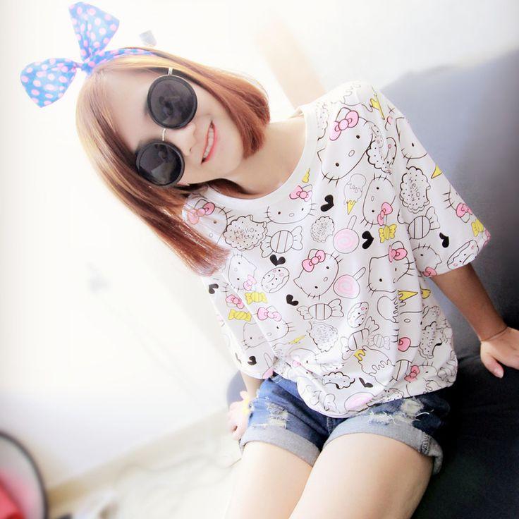 2016 New Fashion cute Summer Style Harajuku short sleeve T Shirt Women Clothes Tops Tee Shirts hello kitty cat Print lady girl