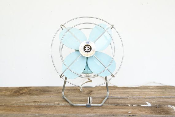 Blue Metal Electric Fan // Mid Century by Larch Trading Company