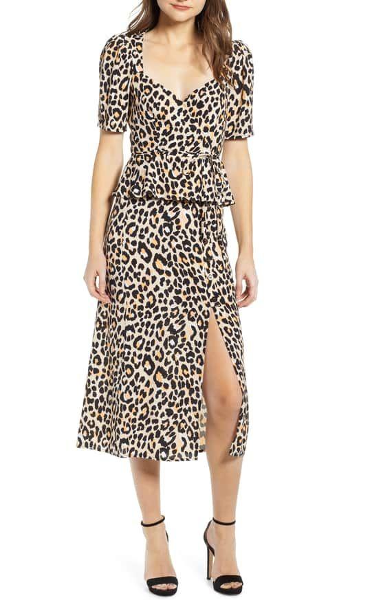 23761c771b ASTR the Label Leopard Print Button Front Midi Cotton Blend Skirt |  Nordstrom
