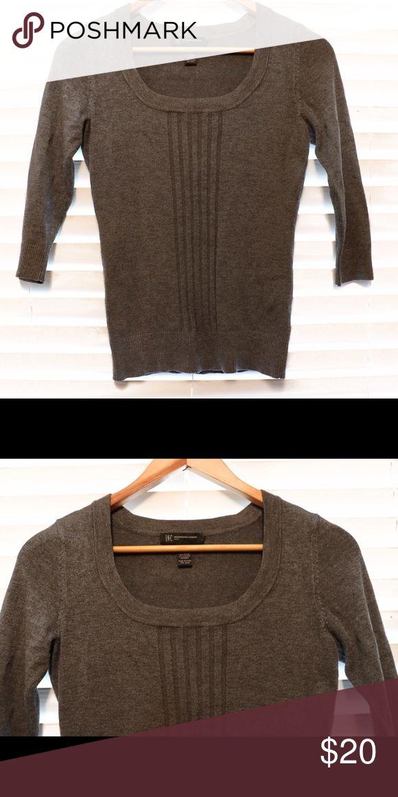 Macy's Inc Three- quarter Length Sleeve Top Grey top. Three - quarter length sleeves. New contrition INC International Concepts Tops Tees - Long Sleeve