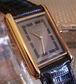 Cartier Watch must de  18 k Gold Over Silver Quartz ~ Shades of Gray ~ Free Shipping