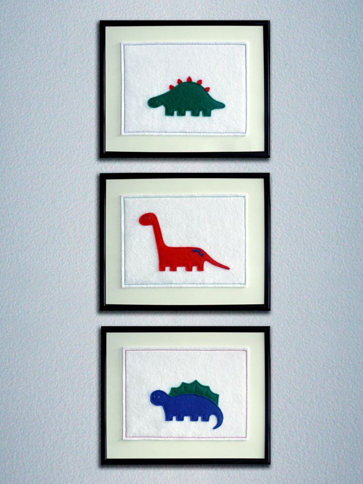 Set of three felt dinosaur pictures. Fun children's wall art with a dinosaur theme. by FiveStitchSeven on Etsy https://www.etsy.com/listing/183020086/set-of-three-felt-dinosaur-pictures-fun