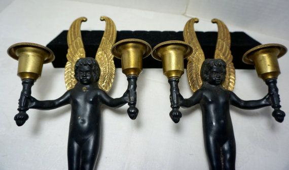 Antique Bronze Wall Sconces Black Angels 1940s by blingblingfling