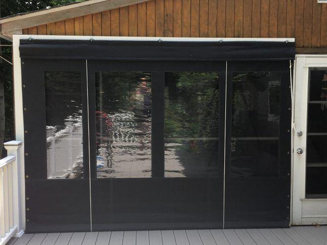 Screen porch enclosure curtains - Black Sunbrella fabric with 20 gauge vinyl windows