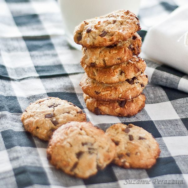 chocolate chip cookies with sliced almonds almond meal chocolate chips ...