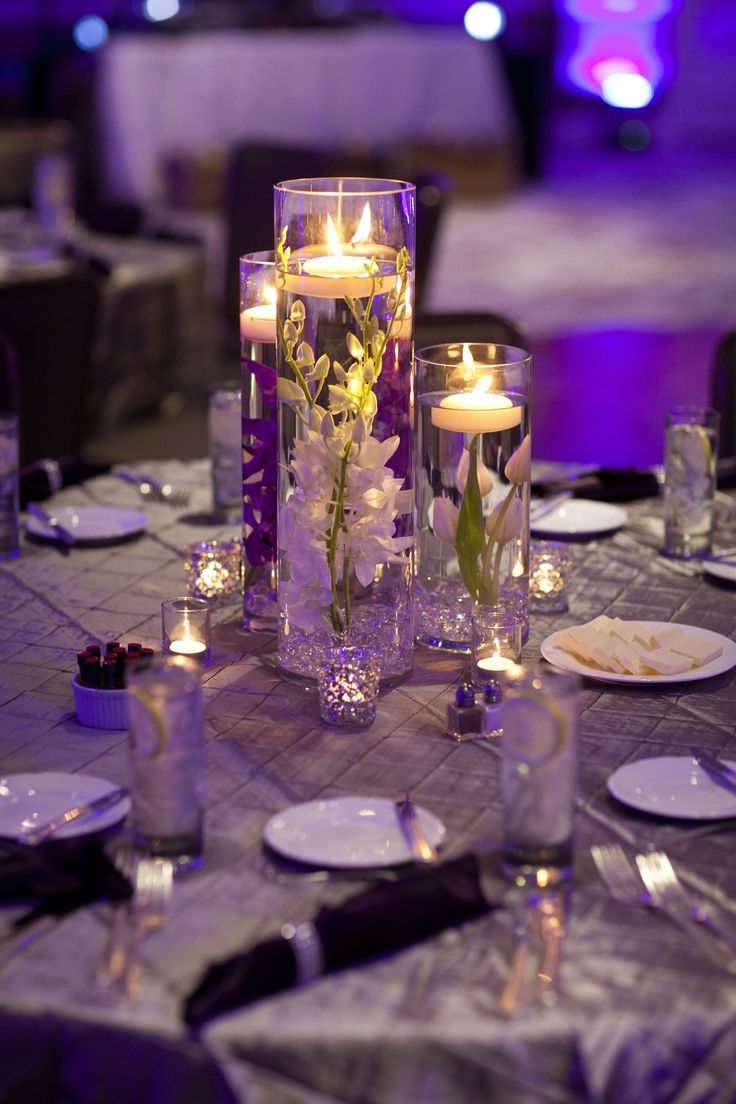 Submerged Flower Centerpiece. Simple Centerpiece, floating candles. Orchids, tulips. Florals by Jenny