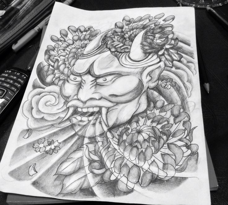 Japanese Wind Tattoo: Tattoo, Japanese, Hanya Mask, Hannya Mask, Crysthanthemums
