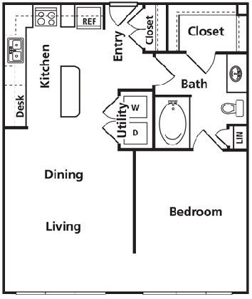 Great micro house floor plan with some changes.  Move the entry to the living room, extend the MBR closet to incorporate stack-able washer & dryer, no need for the extra door to the bath, make the w/d a huge pantry.  No need for range in any house these days...use a portable induction burner.  A small convection oven/microwave is a better idea.
