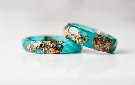 Emerald Green Resin Ring With Copper Flakes - Thin Faceted Band Ring - Teal Stacking Ring - Minimal Resin Jewelry