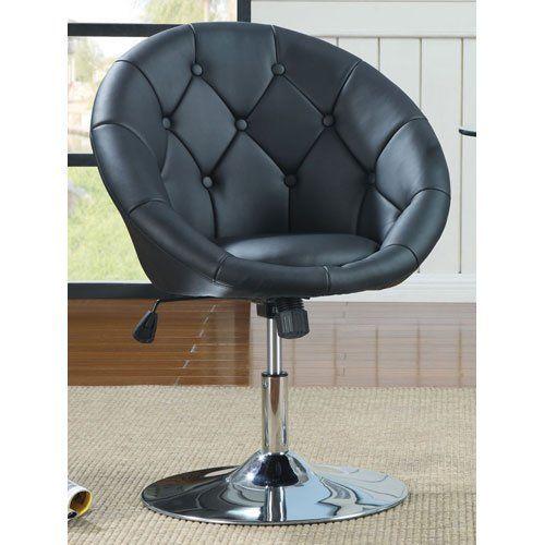 Elegant Coaster 102580 Round Back Swivel Chair, Black Coaster Home Furnishings