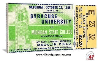 Michigan State art. 1936 Syracuse vs. Michigan State football ticket art. The Spartans won this '36 Homecoming game 19-12 in East Lansing. Michigan State canvas art, Michigan State football art, college football art, vintage football art, canvas football art, vintage sports art, game room art.