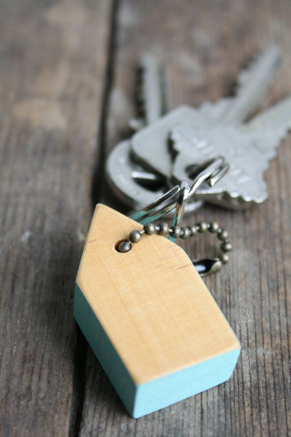 Small Wooden HandPainted #Wood #Aqua Keychain on #Etsy