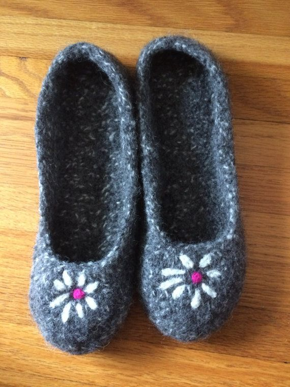 Ladies Hand Knit & Felted Slippers with non slip by CozeeQuilts