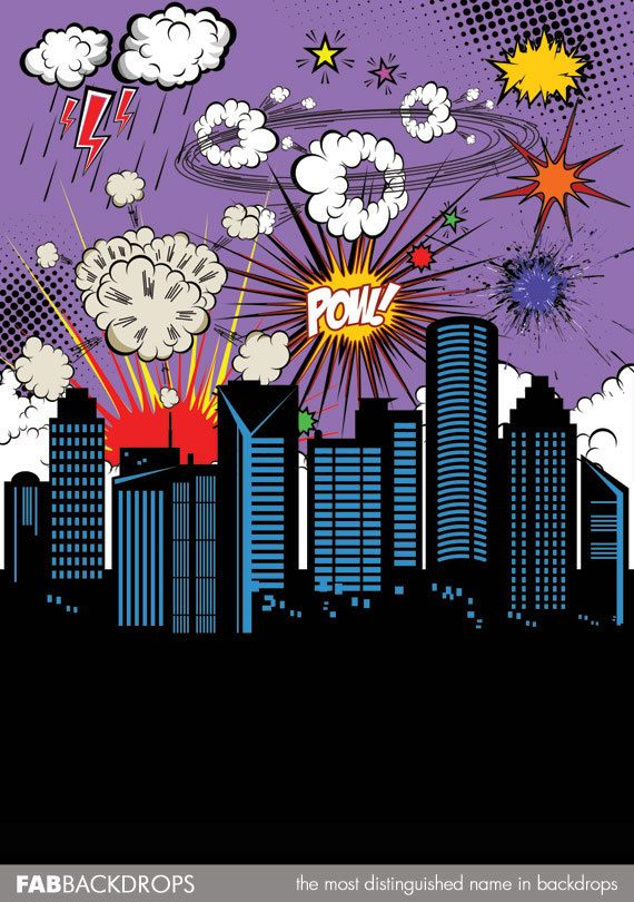 Super Hero Comic Book Backdrop FD6074 by FabDrops on Etsy