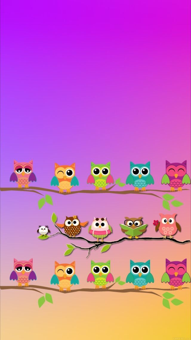 Colorful Owls Wallpaper