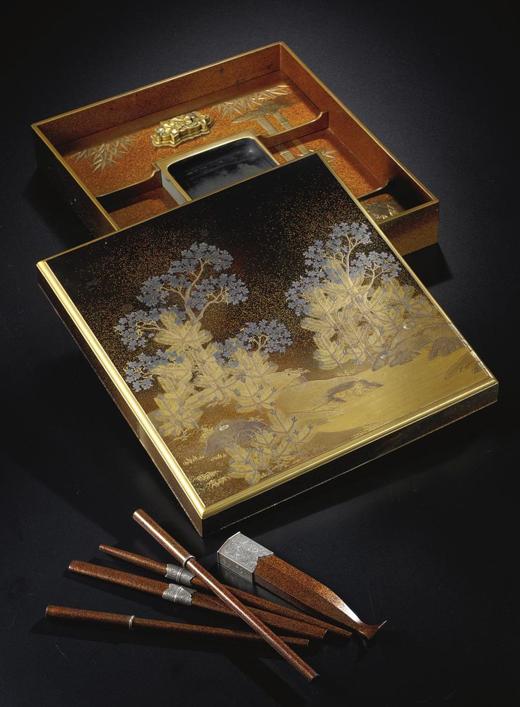 lacquer (ro-iro) writing implement box and cover (suzuribako) Late 19th century